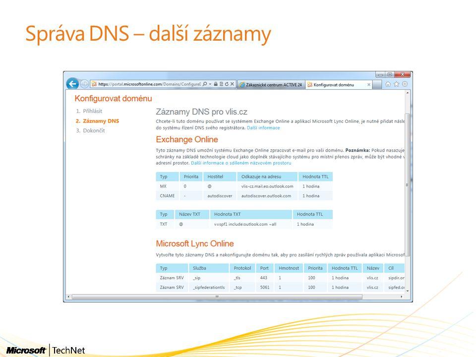 Správa DNS – další záznamy