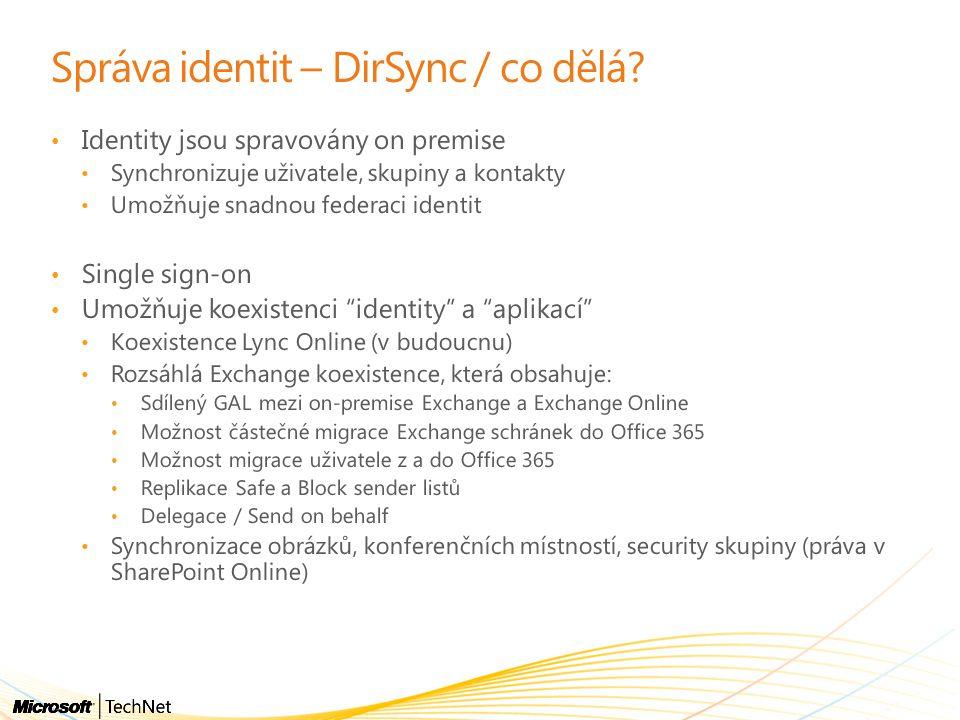 Správa identit – DirSync / co dělá.
