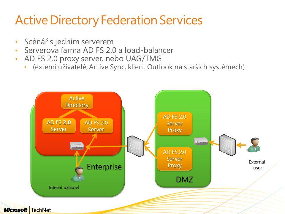 Active Directory Federation Services Scénář s jedním serverem Serverová farma AD FS 2.0 a load-balancer AD FS 2.0 proxy server, nebo UAG/TMG (externí uživatelé, Active Sync, klient Outlook na starších systémech) Enterprise DMZ AD FS 2.0 Server Proxy Proxy Externaluser Interní uživatel ActiveDirectoryActiveDirectory AD FS 2.0 Server Proxy Proxy