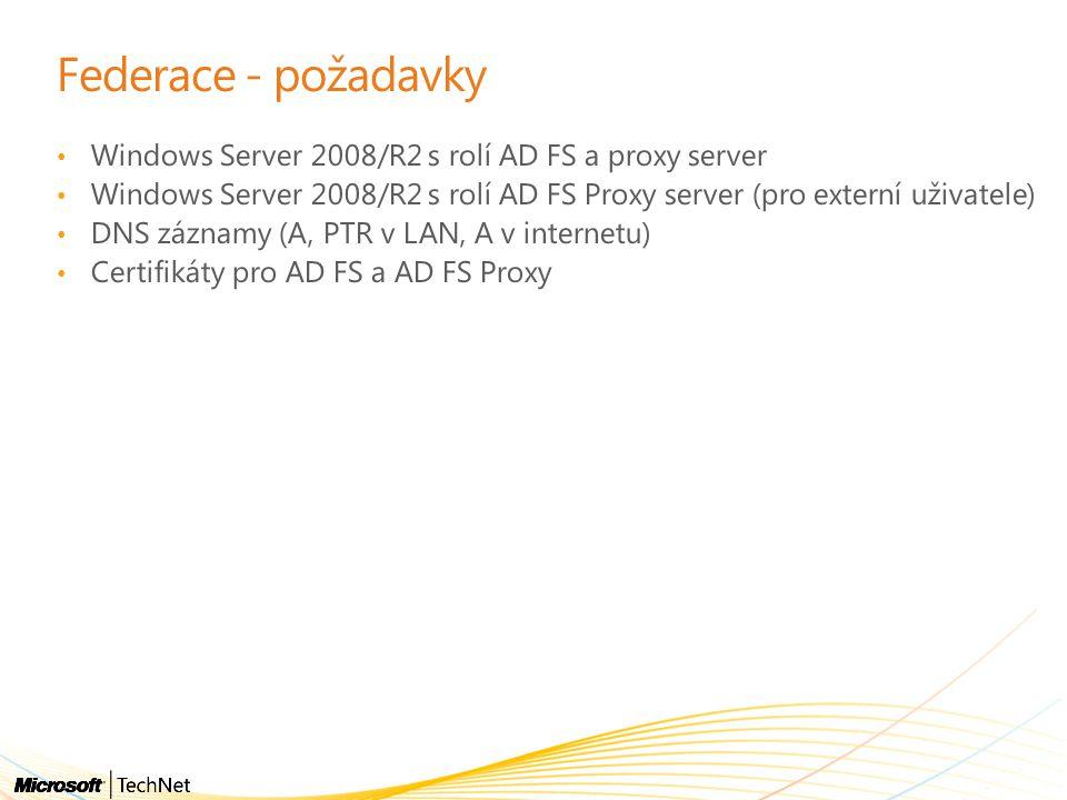 Federace - požadavky Windows Server 2008/R2 s rolí AD FS a proxy server Windows Server 2008/R2 s rolí AD FS Proxy server (pro externí uživatele) DNS záznamy (A, PTR v LAN, A v internetu) Certifikáty pro AD FS a AD FS Proxy
