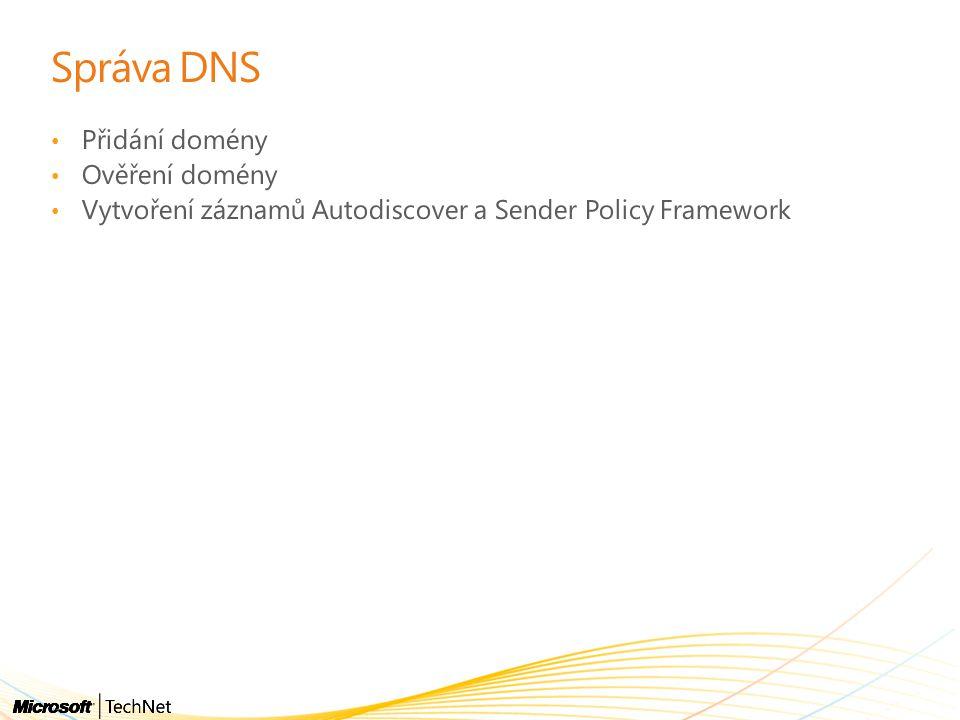 Přidání domény Ověření domény Vytvoření záznamů Autodiscover a Sender Policy Framework