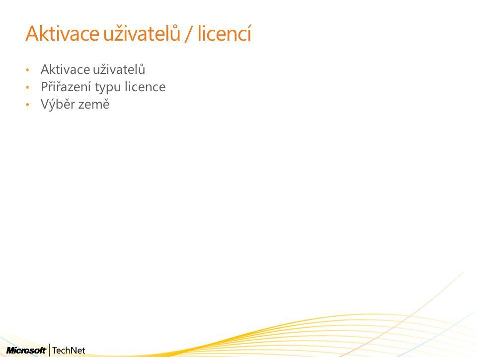 Aktivace uživatelů / licencí Aktivace uživatelů Přiřazení typu licence Výběr země