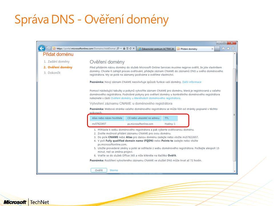 Správa DNS - Ověření domény