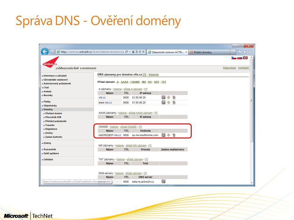 """Správa identit - postup """"Vyčištění AD DirSync – synchronizace Nasazení AD FS serveru (pokud potřebujete) Nasazení AD FS Proxy serveru (pokud potřebujete) Nutnost upgrade AD schema na Exchange 2010 SP1 v případě při scénářích koexistence (jinak ne)"""