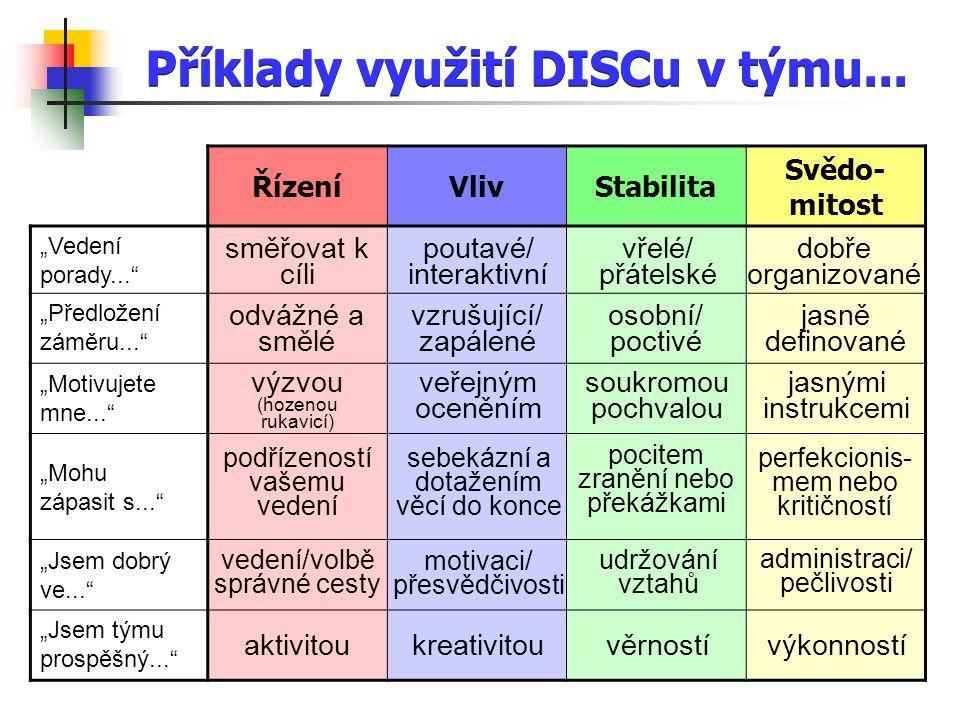 Příklady využití DISCu v týmu...