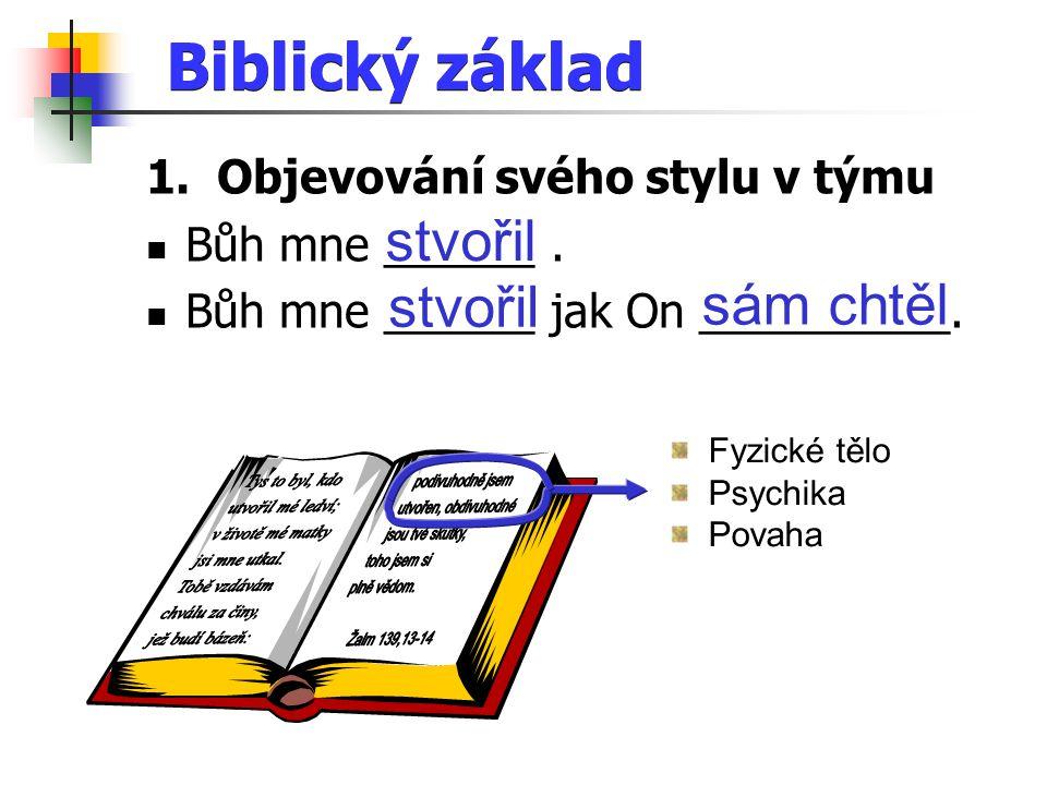 Biblický základ 1. Objevování svého stylu v týmu Bůh mne ______.