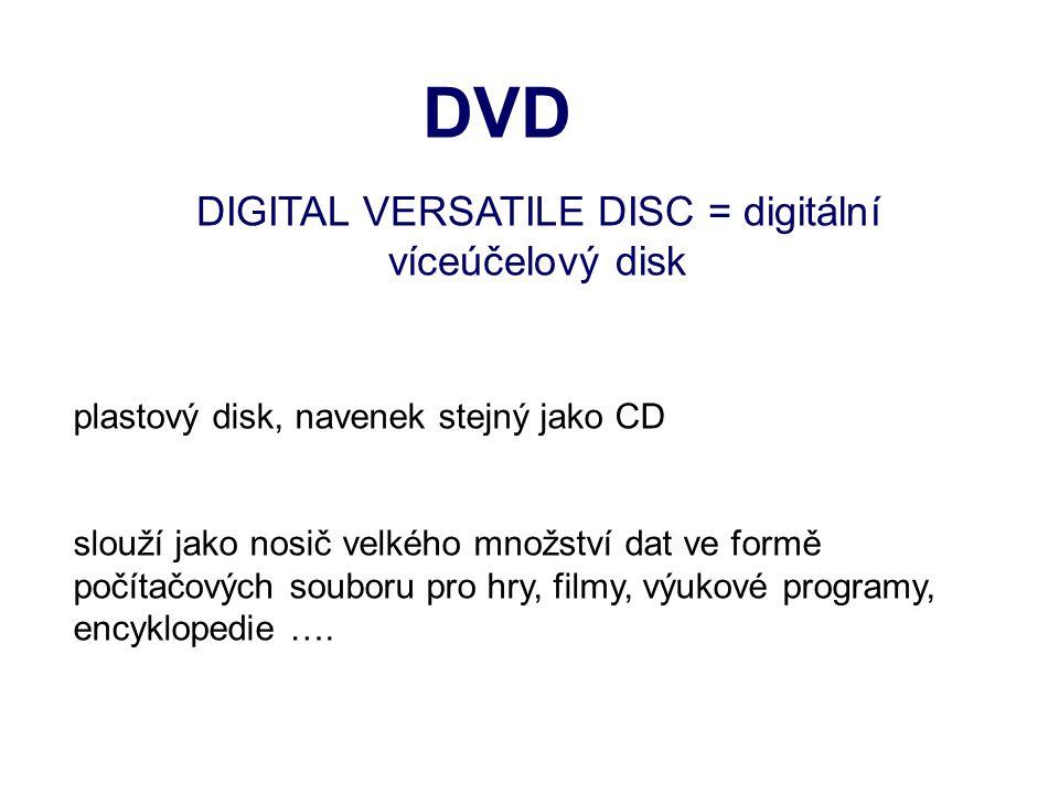 DVD DIGITAL VERSATILE DISC = digitální víceúčelový disk plastový disk, navenek stejný jako CD slouží jako nosič velkého množství dat ve formě počítačových souboru pro hry, filmy, výukové programy, encyklopedie ….