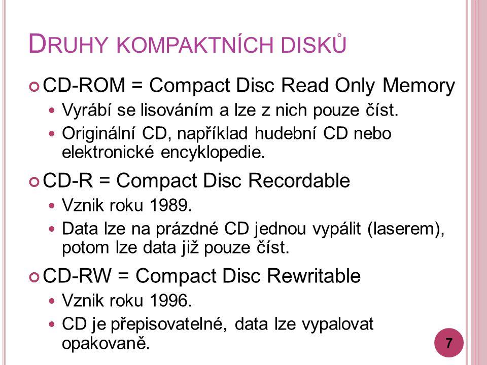 D RUHY KOMPAKTNÍCH DISKŮ CD-ROM = Compact Disc Read Only Memory Vyrábí se lisováním a lze z nich pouze číst. Originální CD, například hudební CD nebo