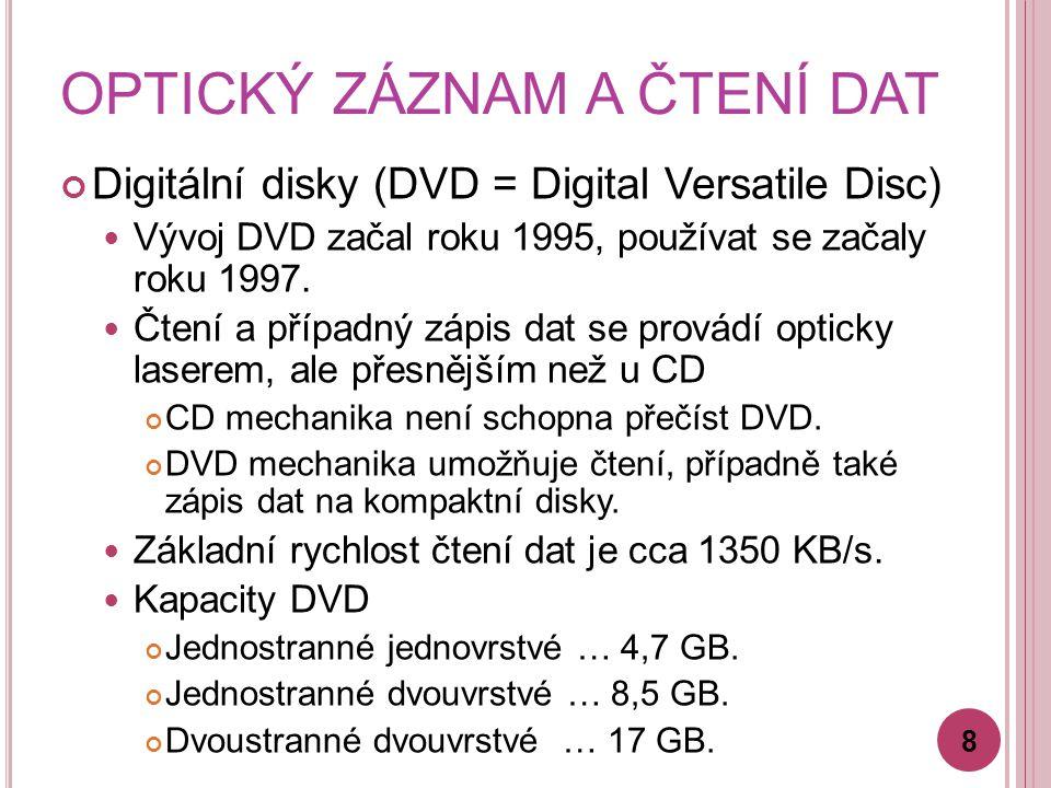 OPTICKÝ ZÁZNAM A ČTENÍ DAT Digitální disky (DVD = Digital Versatile Disc) Vývoj DVD začal roku 1995, používat se začaly roku 1997. Čtení a případný zá