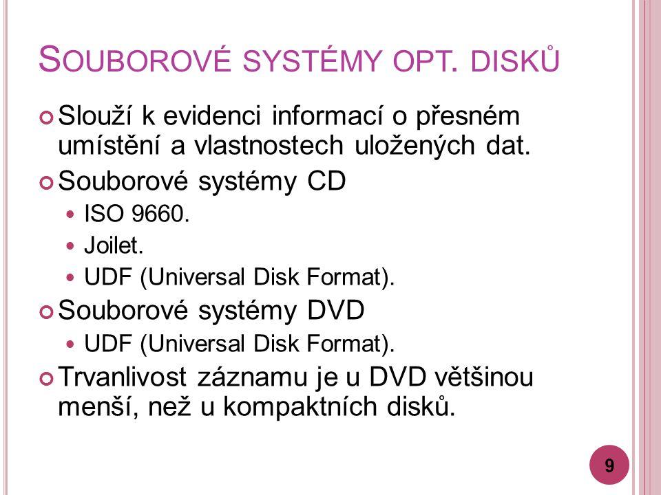 S OUBOROVÉ SYSTÉMY OPT. DISKŮ Slouží k evidenci informací o přesném umístění a vlastnostech uložených dat. Souborové systémy CD ISO 9660. Joilet. UDF