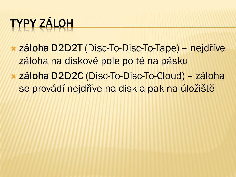  záloha D2D2T (Disc-To-Disc-To-Tape) – nejdříve záloha na diskové pole po té na pásku  záloha D2D2C (Disc-To-Disc-To-Cloud) – záloha se provádí nejd