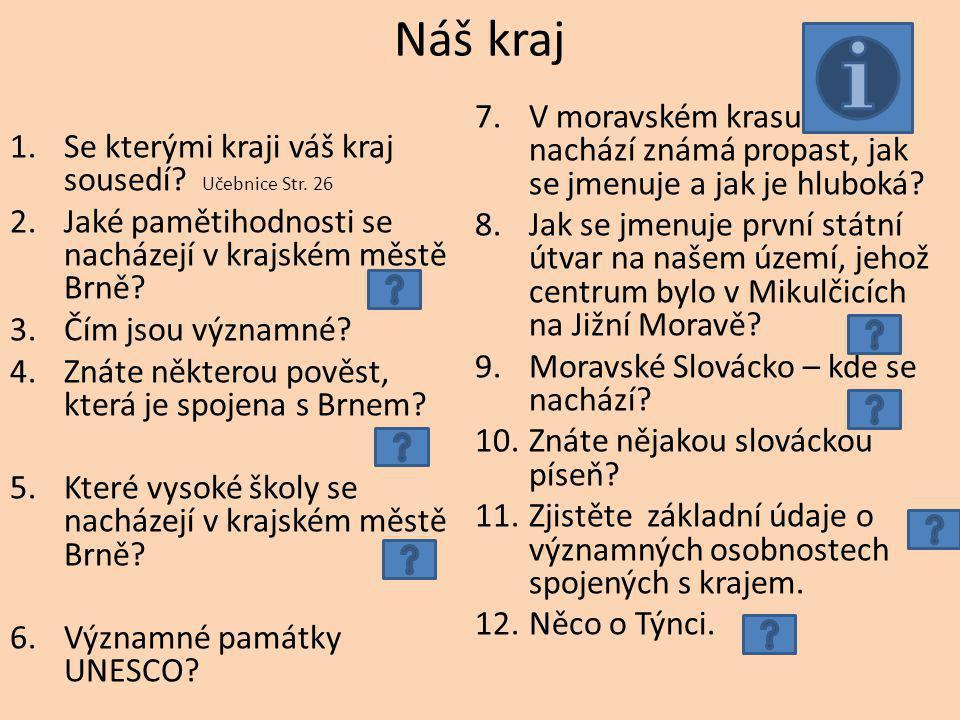 zdroje http://regiony.ic.cz/index.php?clanek=morava&dir=m orava&menu=morava http://regiony.ic.cz/index.php?clanek=morava&dir=m orava&menu=morava http://www.pametihodnosti.cz/vyhledat.html?name= brno http://www.pametihodnosti.cz/vyhledat.html?name= brno http://mojebrno.wz.cz/inka--brno-povesti.html http://www.brno.cz/obcan/skolstvi-vzdelavani/vysoke- skoly/ http://www.brno.cz/obcan/skolstvi-vzdelavani/vysoke- skoly/ http://cs.wikipedia.org/wiki/Velkomoravsk%C3%A1_% C5%99%C3%AD%C5%A1e http://cs.wikipedia.org/wiki/Velkomoravsk%C3%A1_% C5%99%C3%AD%C5%A1e http://cs.wikipedia.org/wiki/Slov%C3%A1cko http://www.kamsi.info/Jihomoravsky-kraj/ http://www.jizni-morava.cz/?tpl=24&typ=1&id=387 Učebnice Vlastivěda 5, ČR jako součást Evropy.