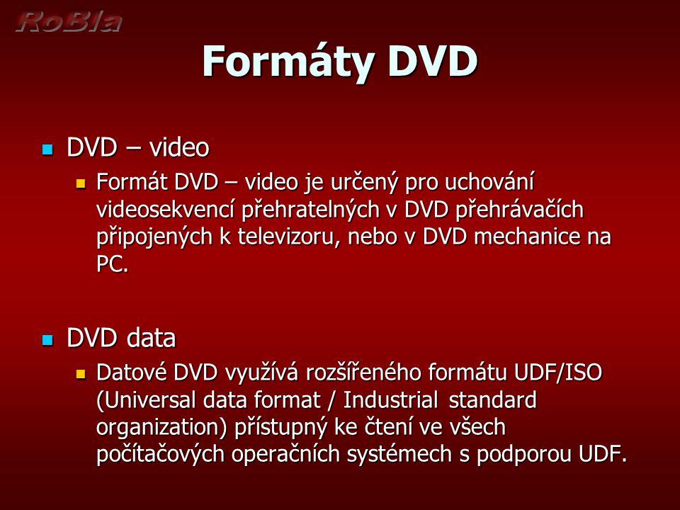 Formáty DVD DVD – video DVD – video Formát DVD – video je určený pro uchování videosekvencí přehratelných v DVD přehrávačích připojených k televizoru,