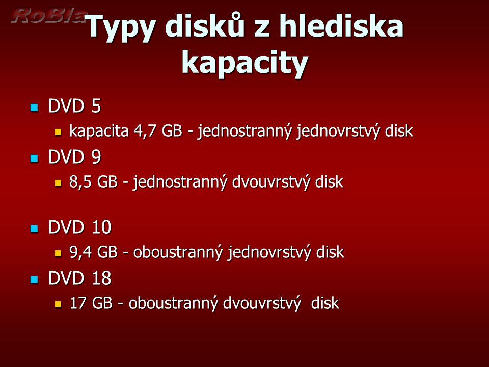 Typy disků z hlediska kapacity DVD 5 DVD 5 kapacita 4,7 GB - jednostranný jednovrstvý disk kapacita 4,7 GB - jednostranný jednovrstvý disk DVD 9 DVD 9
