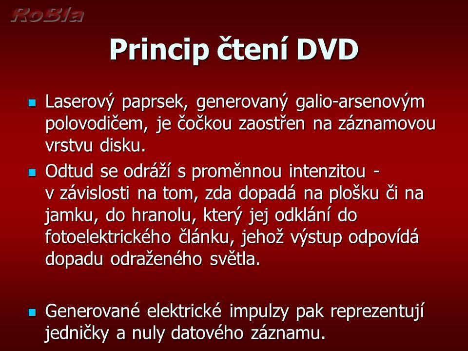 Princip čtení DVD Laserový paprsek, generovaný galio-arsenovým polovodičem, je čočkou zaostřen na záznamovou vrstvu disku. Laserový paprsek, generovan