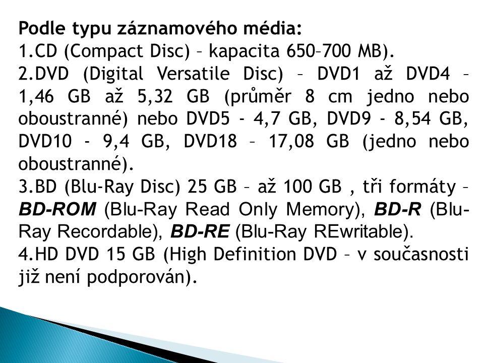 Podle typu záznamového média: 1.CD (Compact Disc) – kapacita 650–700 MB). 2.DVD (Digital Versatile Disc) – DVD1 až DVD4 – 1,46 GB až 5,32 GB (průměr 8
