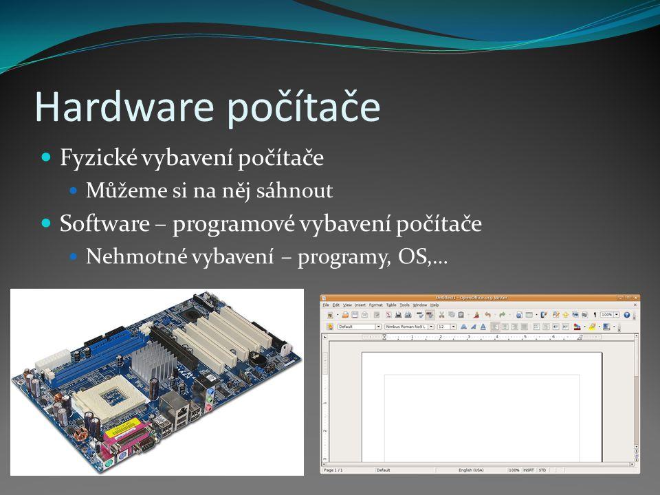 Hardware počítače Fyzické vybavení počítače Můžeme si na něj sáhnout Software – programové vybavení počítače Nehmotné vybavení – programy, OS,…