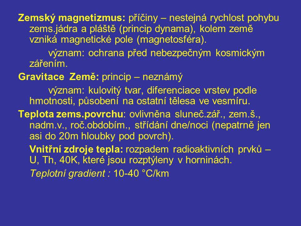 Zemský magnetizmus: příčiny – nestejná rychlost pohybu zems.jádra a pláště (princip dynama), kolem země vzniká magnetické pole (magnetosféra). význam: