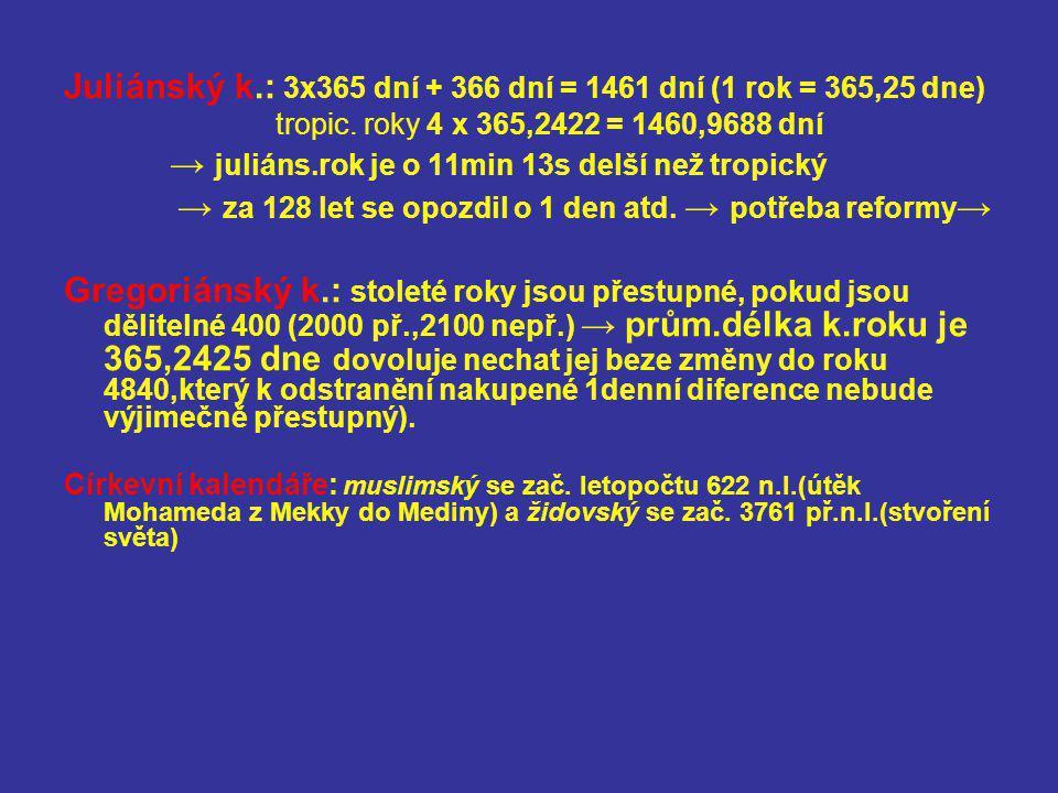 Juliánský k.: 3x365 dní + 366 dní = 1461 dní (1 rok = 365,25 dne) tropic. roky 4 x 365,2422 = 1460,9688 dní → juliáns.rok je o 11min 13s delší než tro