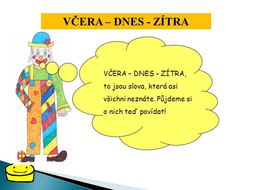 Jestlipak znáte pojmy: VČERA – DNES - ZÍTRA