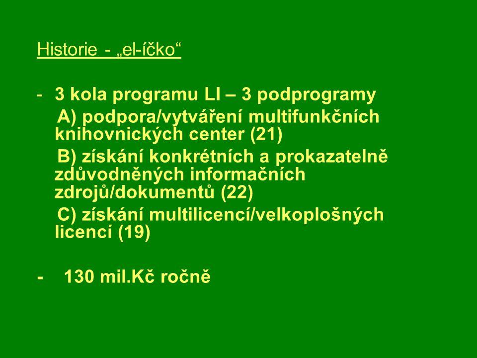 """Historie - """"el-íčko -3 kola programu LI – 3 podprogramy A) podpora/vytváření multifunkčních knihovnických center (21) B) získání konkrétních a prokazatelně zdůvodněných informačních zdrojů/dokumentů (22) C) získání multilicencí/velkoplošných licencí (19) - 130 mil.Kč ročně"""
