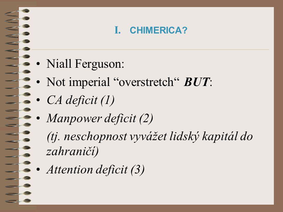 """I. CHIMERICA? Niall Ferguson: Not imperial """"overstretch"""" BUT: CA deficit (1) Manpower deficit (2) (tj. neschopnost vyvážet lidský kapitál do zahraničí"""