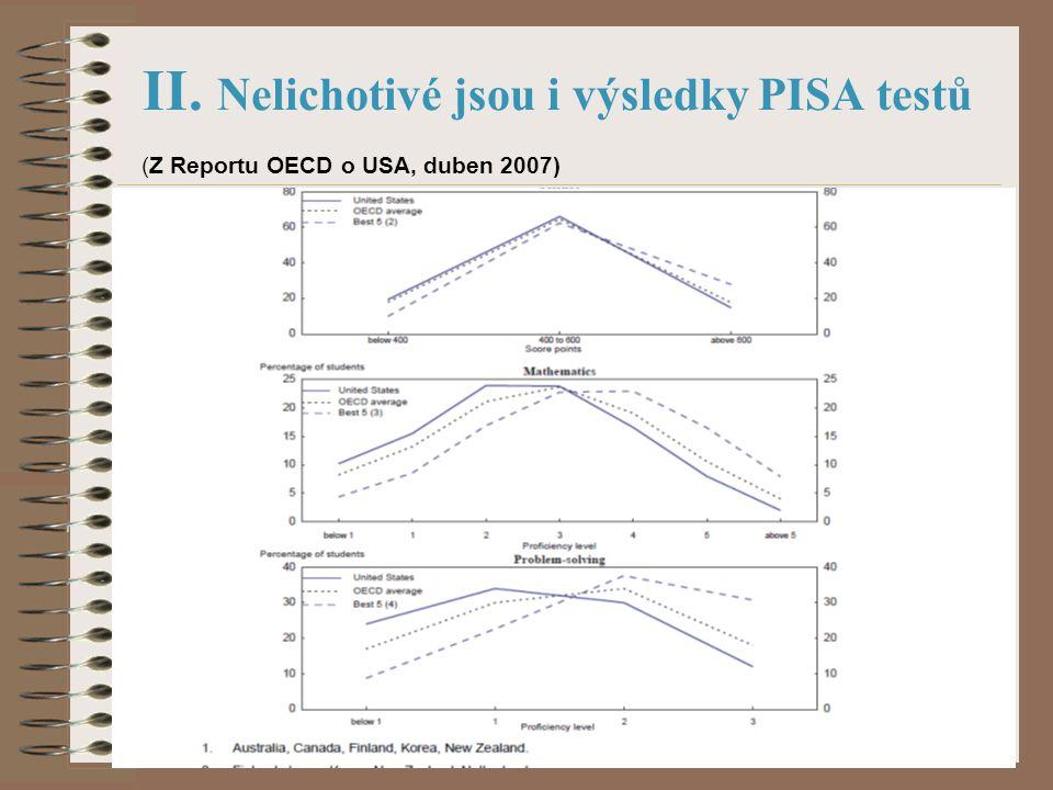 II. Nelichotivé jsou i výsledky PISA testů (Z Reportu OECD o USA, duben 2007)