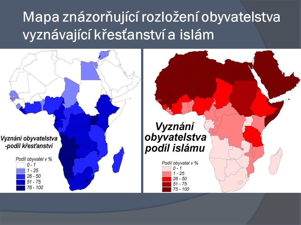 Mapa znázorňující rozložení obyvatelstva vyznávající křesťanství a islám
