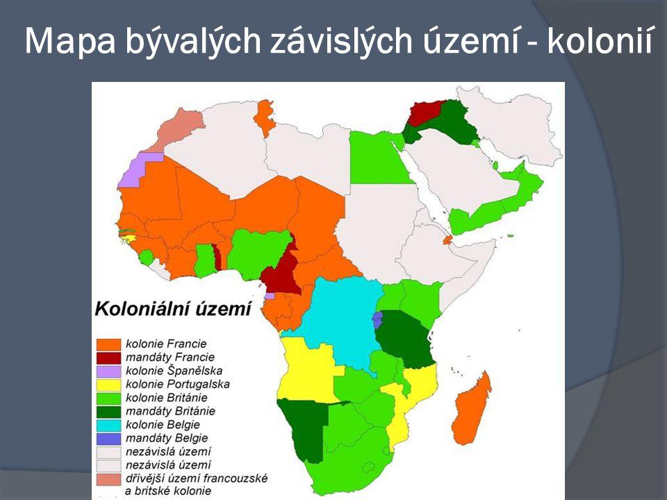 Mapa bývalých závislých území - kolonií