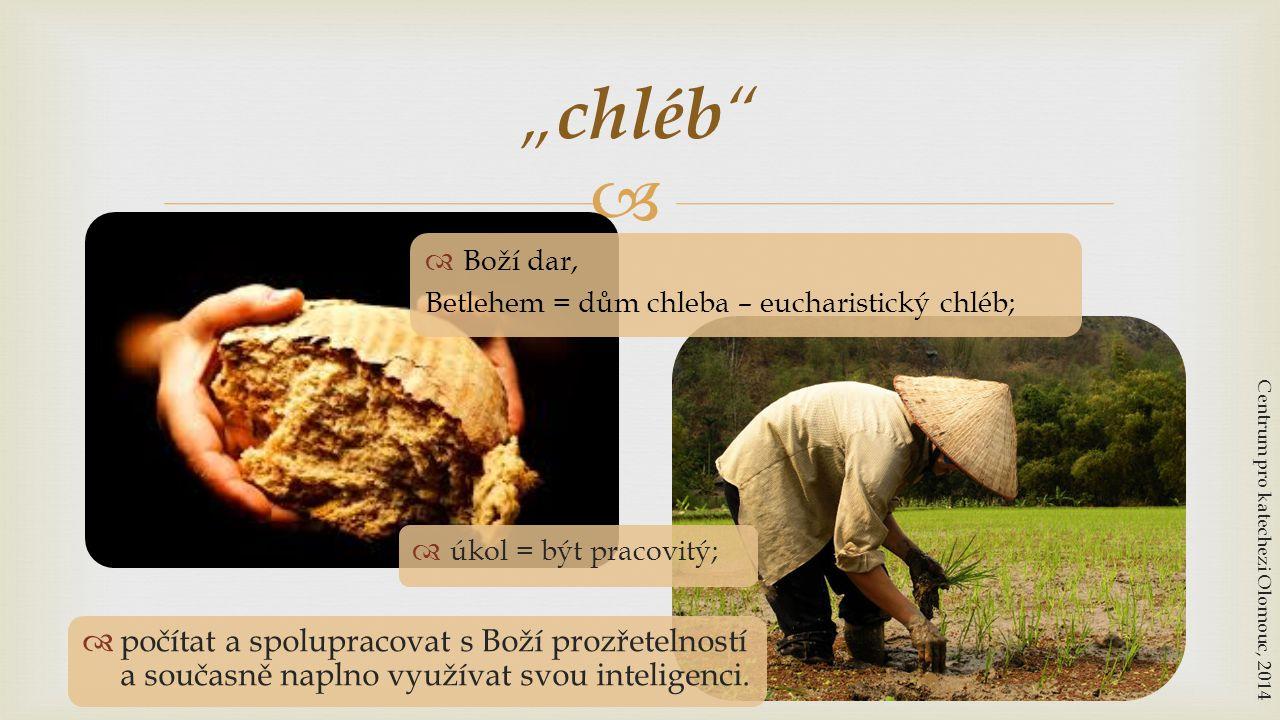 """  Boží dar, Betlehem = dům chleba – eucharistický chléb; """" chléb """" Centrum pro katechezi Olomouc, 2014  počítat a spolupracovat s Boží prozřetelnos"""
