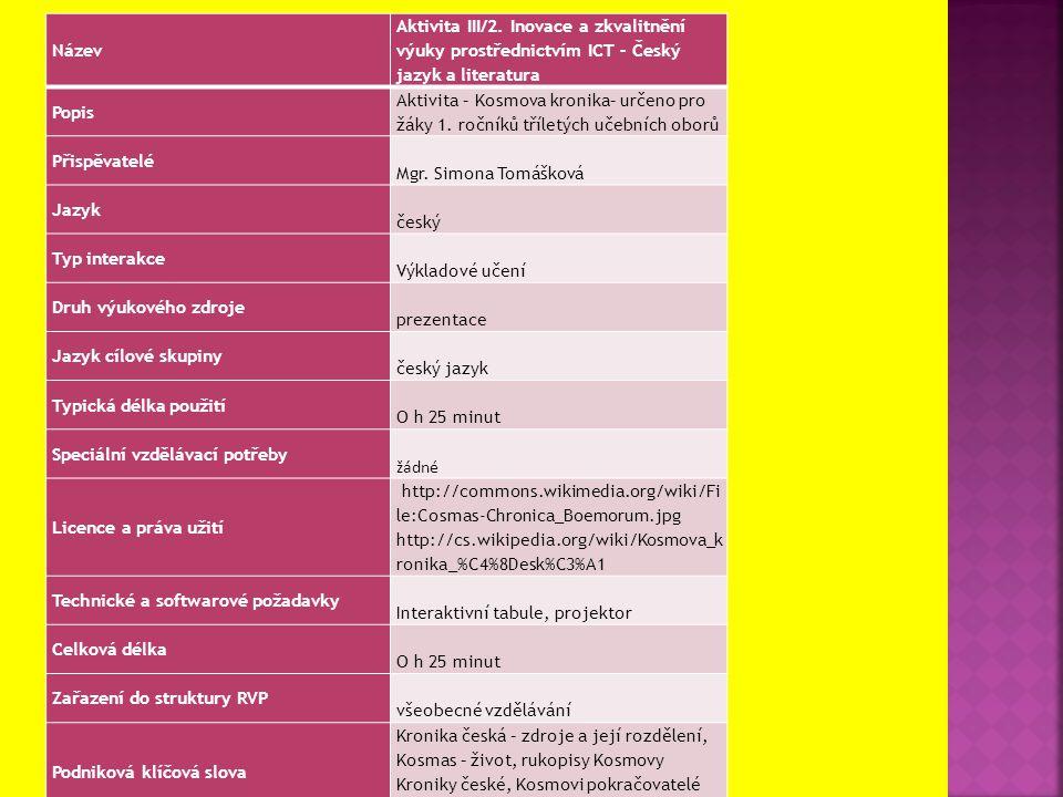Název Aktivita III/2. Inovace a zkvalitnění výuky prostřednictvím ICT – Český jazyk a literatura Popis Aktivita – Kosmova kronika– určeno pro žáky 1.