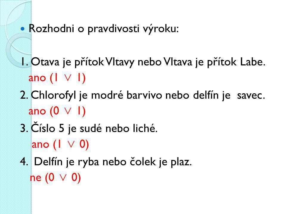 Rozhodni o pravdivosti výroku: 1.Otava je přítok Vltavy nebo Vltava je přítok Labe.