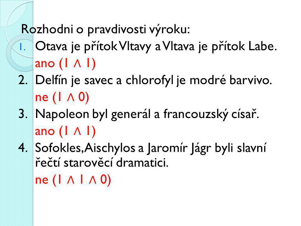Rozhodni o pravdivosti výroku: 1.Otava je přítok Vltavy a Vltava je přítok Labe.