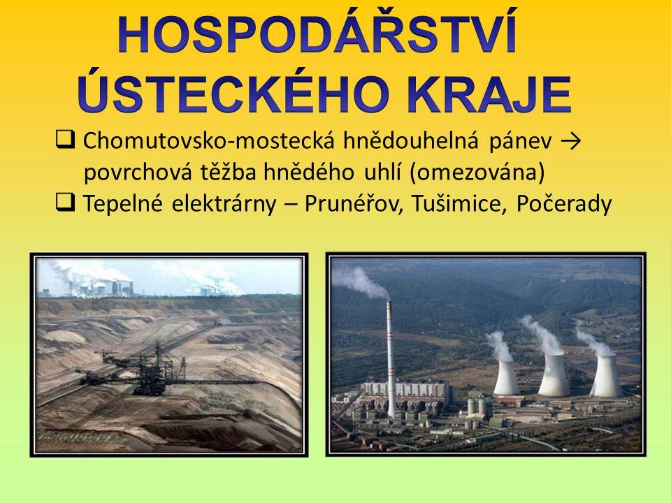  Chomutovsko-mostecká hnědouhelná pánev → povrchová těžba hnědého uhlí (omezována)  Tepelné elektrárny – Prunéřov, Tušimice, Počerady