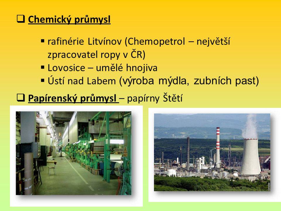  Chemický průmysl  Papírenský průmysl – papírny Štětí  rafinérie Litvínov (Chemopetrol – největší zpracovatel ropy v ČR)  Lovosice – umělé hnojiva  Ústí nad Labem (výroba mýdla, zubních past)