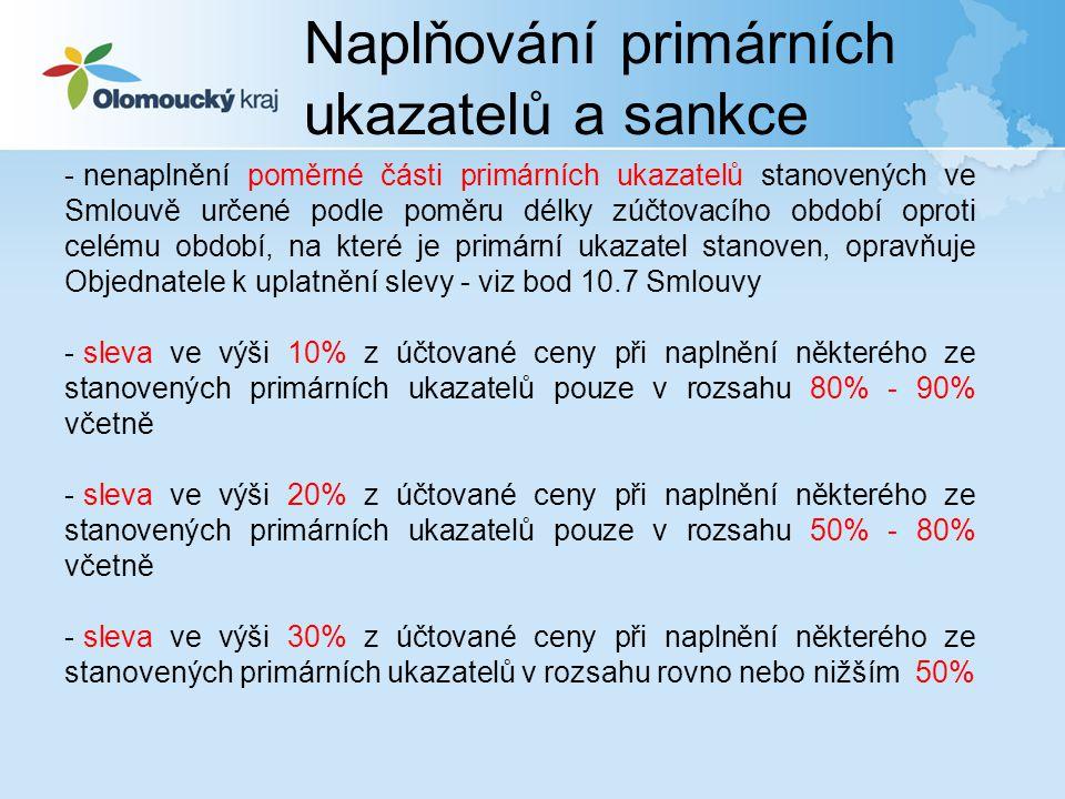 Naplňování primárních ukazatelů a sankce - nenaplnění poměrné části primárních ukazatelů stanovených ve Smlouvě určené podle poměru délky zúčtovacího