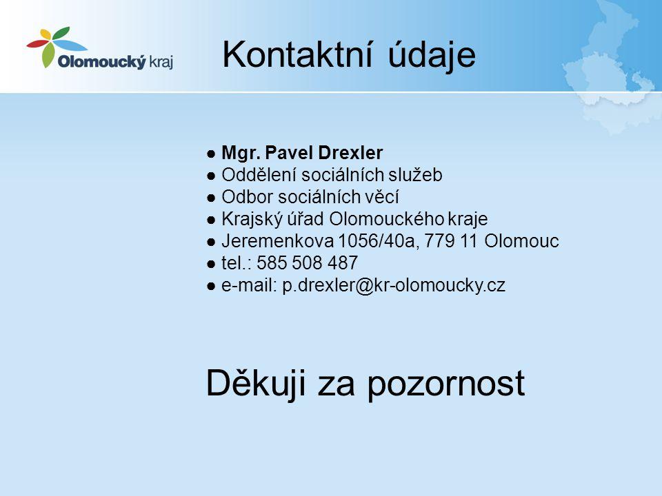Kontaktní údaje ● Mgr. Pavel Drexler ● Oddělení sociálních služeb ● Odbor sociálních věcí ● Krajský úřad Olomouckého kraje ● Jeremenkova 1056/40a, 779
