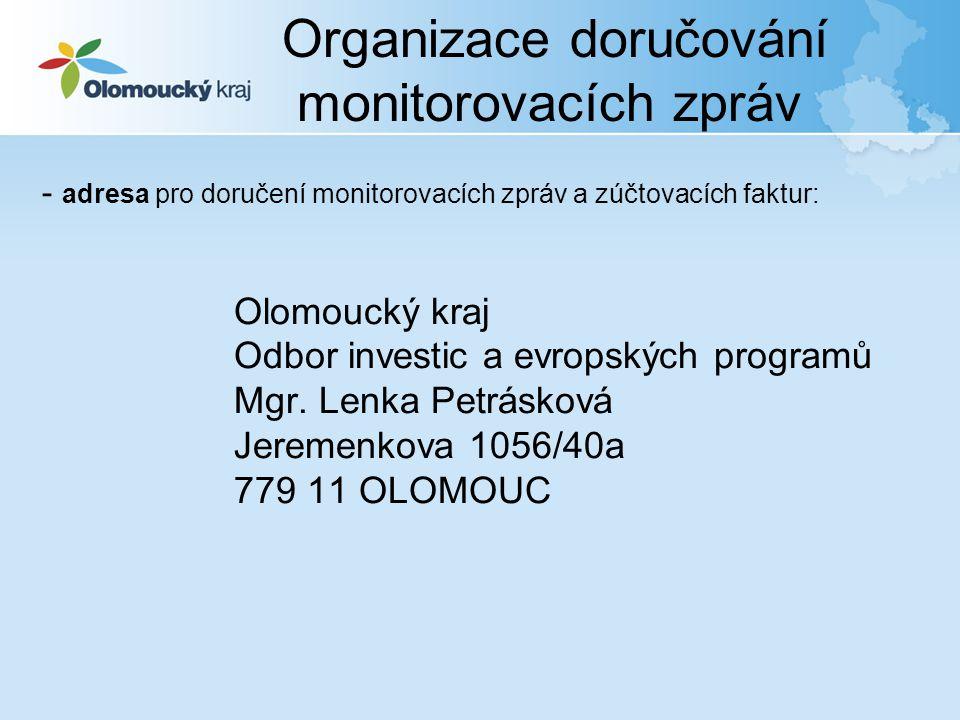 - adresa pro doručení monitorovacích zpráv a zúčtovacích faktur: Olomoucký kraj Odbor investic a evropských programů Mgr. Lenka Petrásková Jeremenkova
