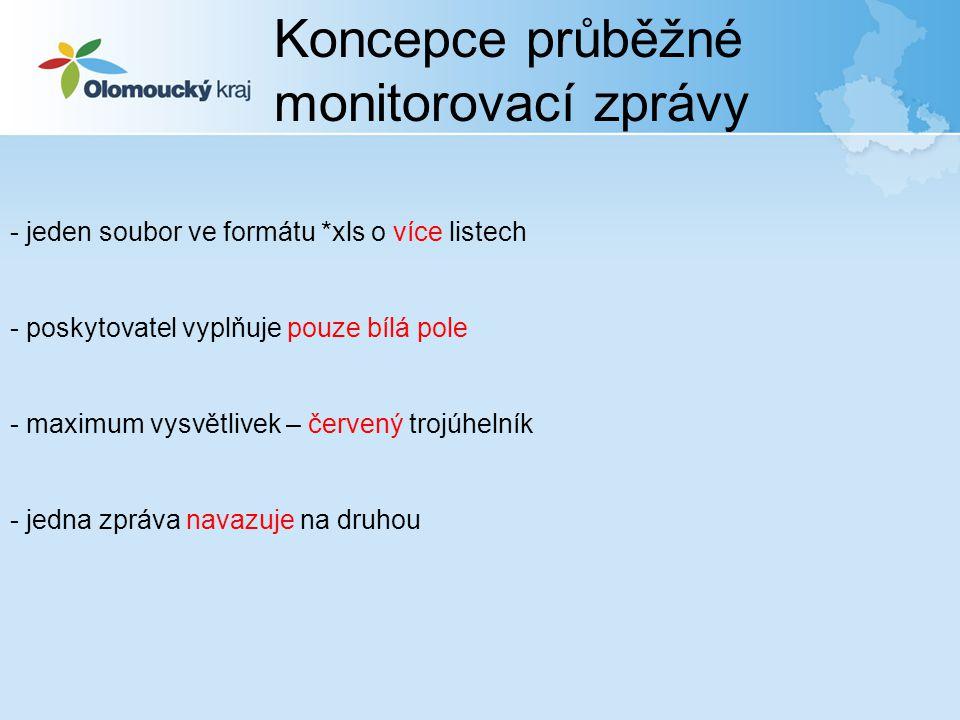 Koncepce průběžné monitorovací zprávy - jeden soubor ve formátu *xls o více listech - poskytovatel vyplňuje pouze bílá pole - maximum vysvětlivek – če