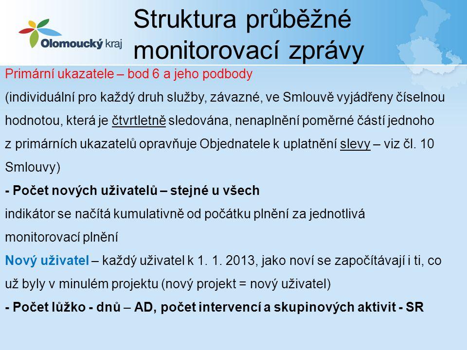 Struktura průběžné monitorovací zprávy Primární ukazatele – bod 6 a jeho podbody (individuální pro každý druh služby, závazné, ve Smlouvě vyjádřeny čí