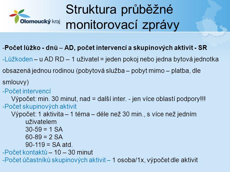 Struktura průběžné monitorovací zprávy -Počet lůžko - dnů – AD, počet intervencí a skupinových aktivit - SR -Lůžkoden – u AD RD – 1 uživatel = jeden p