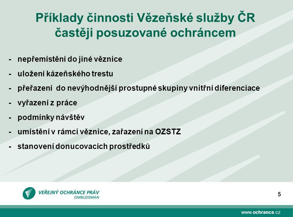 www.ochrance.cz 5 Příklady činnosti Vězeňské služby ČR častěji posuzované ochráncem -nepřemístění do jiné věznice -uložení kázeňského trestu -přeřazen