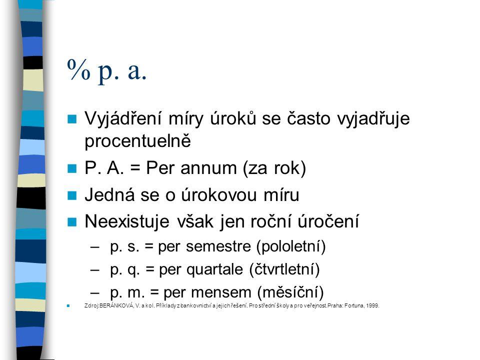 % p. a. Vyjádření míry úroků se často vyjadřuje procentuelně P.