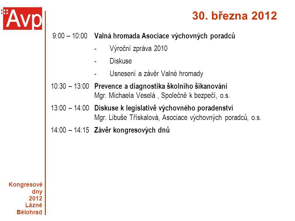Kongresové dny 2012 Lázně Bělohrad 30. března 2012 9:00 – 10:00 Valná hromada Asociace výchovných poradců -Výroční zpráva 2010 -Diskuse - Usnesení a z