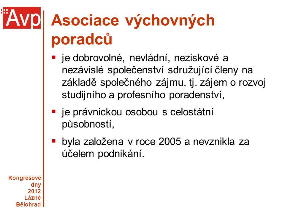 Kongresové dny 2012 Lázně Bělohrad www.asociacevp.cz Asociace výchovných poradců  je dobrovolné, nevládní, neziskové a nezávislé společenství sdružuj