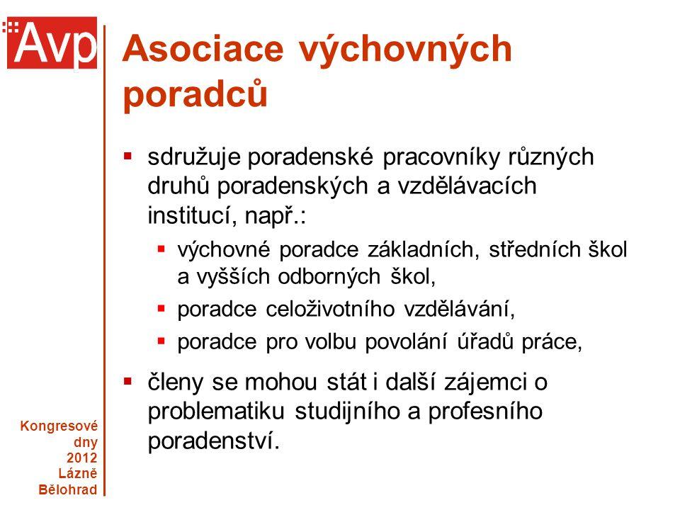 Kongresové dny 2012 Lázně Bělohrad www.asociacevp.cz Asociace výchovných poradců  sdružuje poradenské pracovníky různých druhů poradenských a vzděláv
