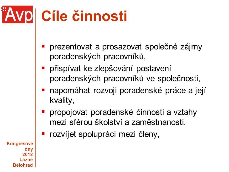 Kongresové dny 2012 Lázně Bělohrad www.asociacevp.cz Cíle činnosti  prezentovat a prosazovat společné zájmy poradenských pracovníků,  přispívat ke z