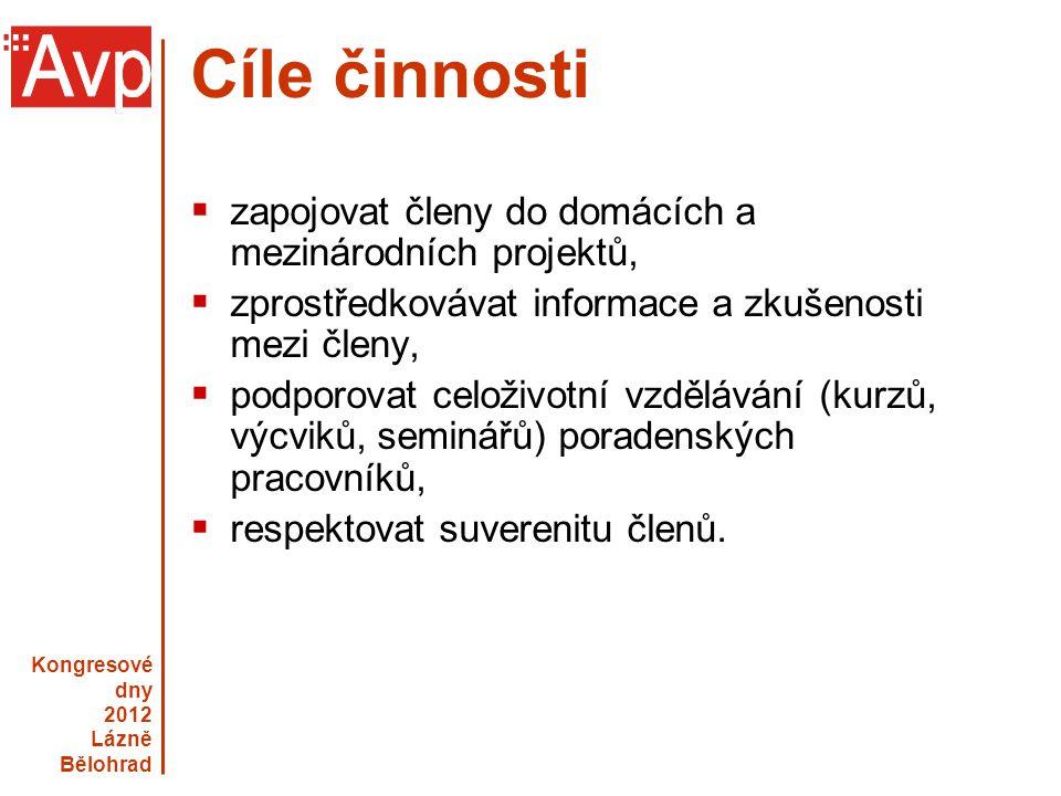Kongresové dny 2012 Lázně Bělohrad www.asociacevp.cz Cíle činnosti  zapojovat členy do domácích a mezinárodních projektů,  zprostředkovávat informac