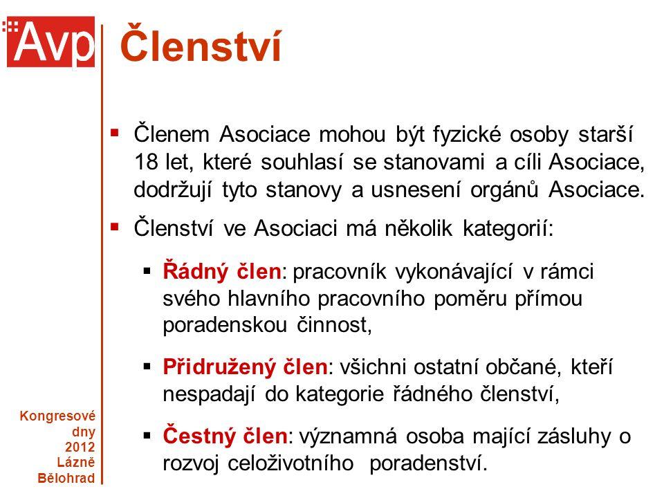 Kongresové dny 2012 Lázně Bělohrad www.asociacevp.cz Členství  Členem Asociace mohou být fyzické osoby starší 18 let, které souhlasí se stanovami a c