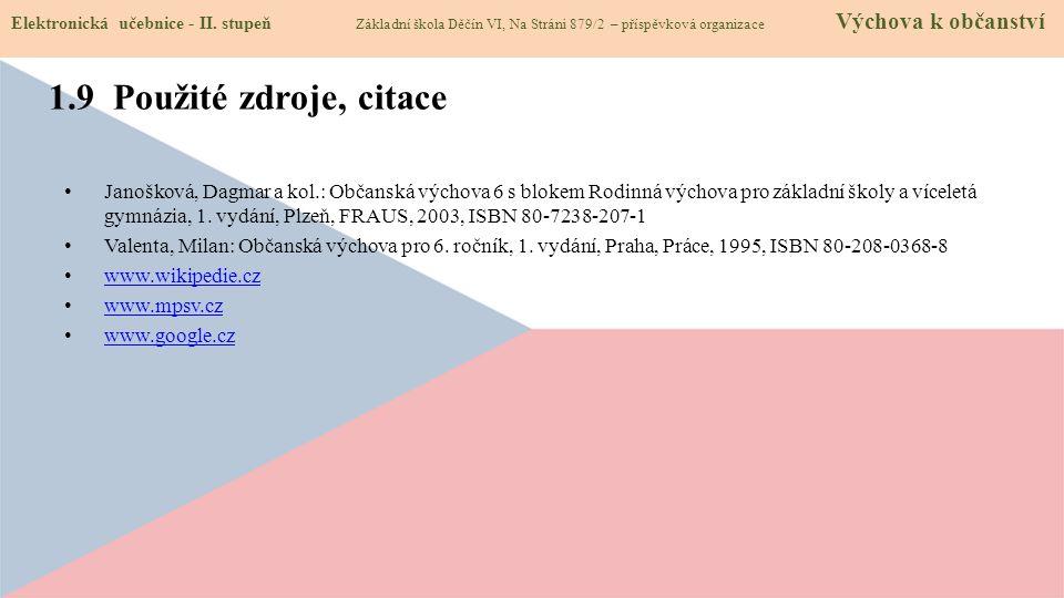 Janošková, Dagmar a kol.: Občanská výchova 6 s blokem Rodinná výchova pro základní školy a víceletá gymnázia, 1.
